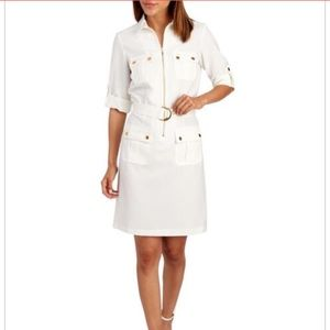Sharagano White with silver Utility Shirt Dress